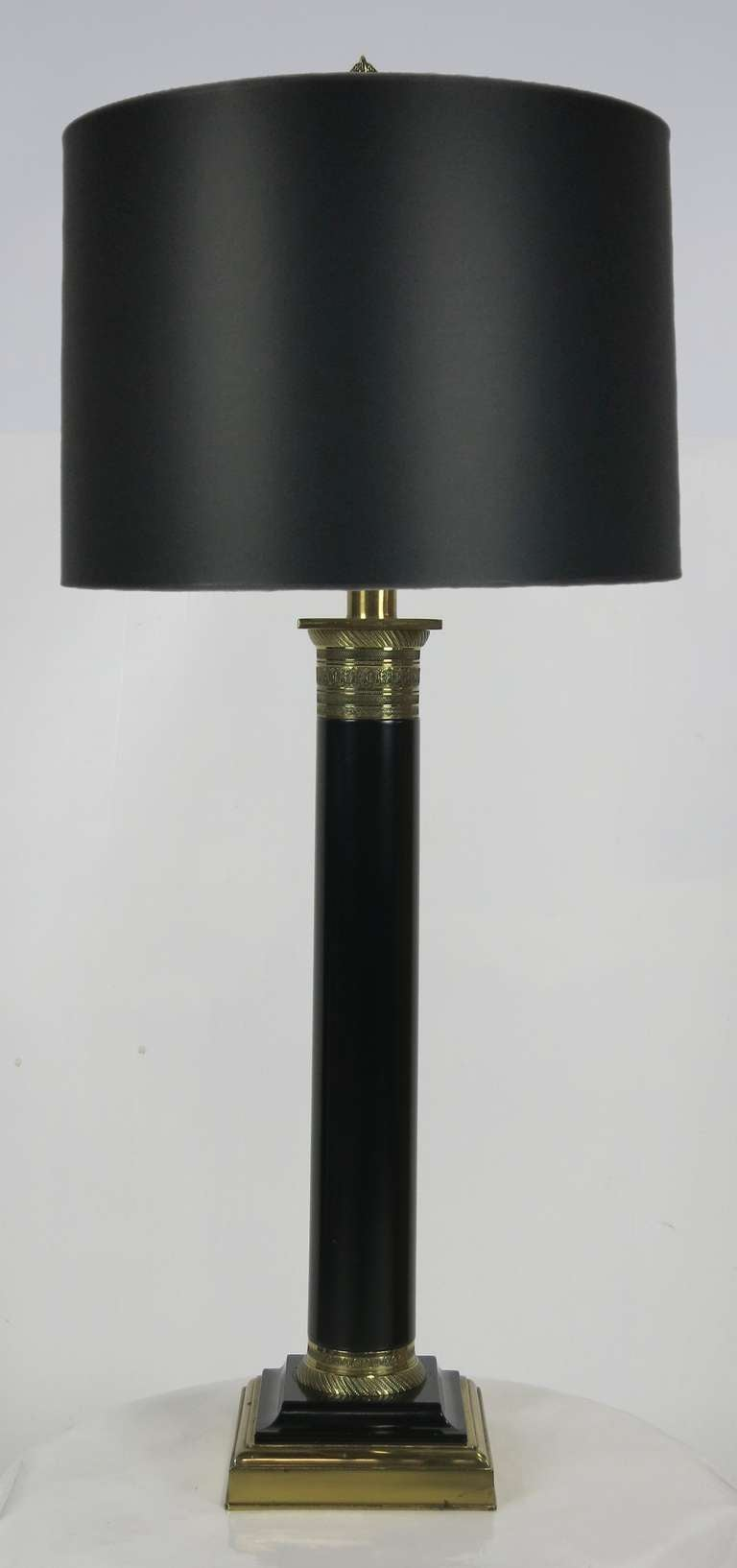 Ebony and Brass Column Lamp by Paul Hanson 3