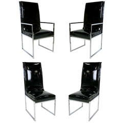 Set of Four Chrome Dining Chairs by Milo Baughman for DIA