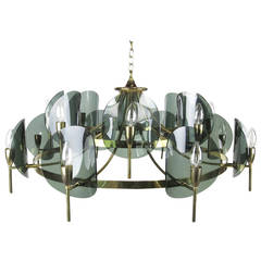 Large Brass and Smoked Lucite Chandelier