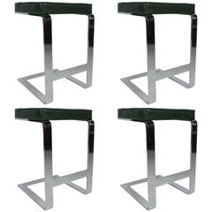 Set of Four Chrome Counter Stools by Pace