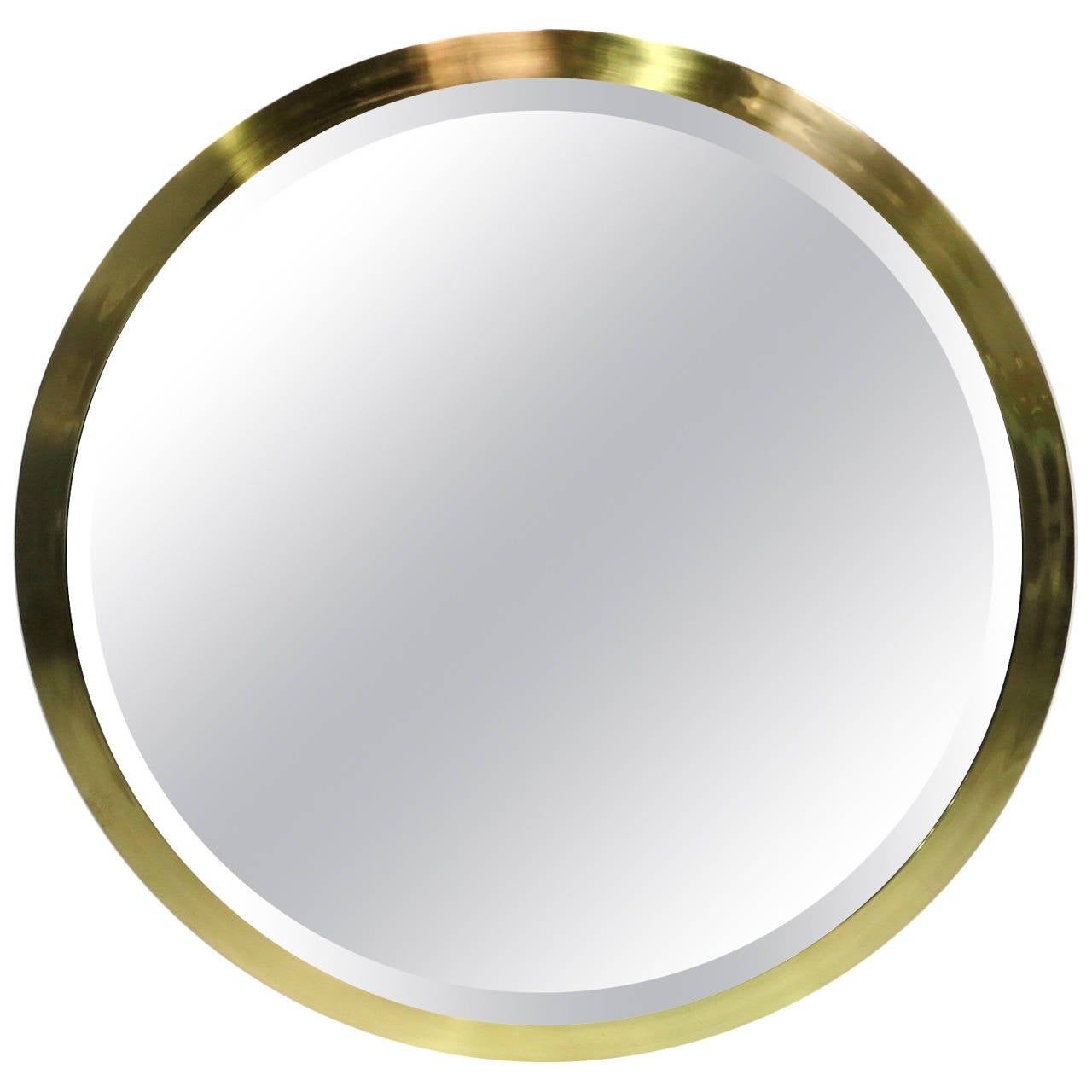 Large scale round beveled mirror with brass frame at 1stdibs for Circle mirror
