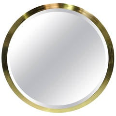Large-Scale Round Beveled Mirror with Brass Frame