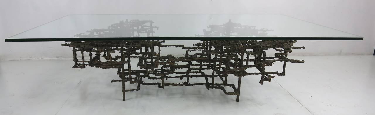 Rare Bronze Version Sculptural Coffee Table by Daniel Gluck 2