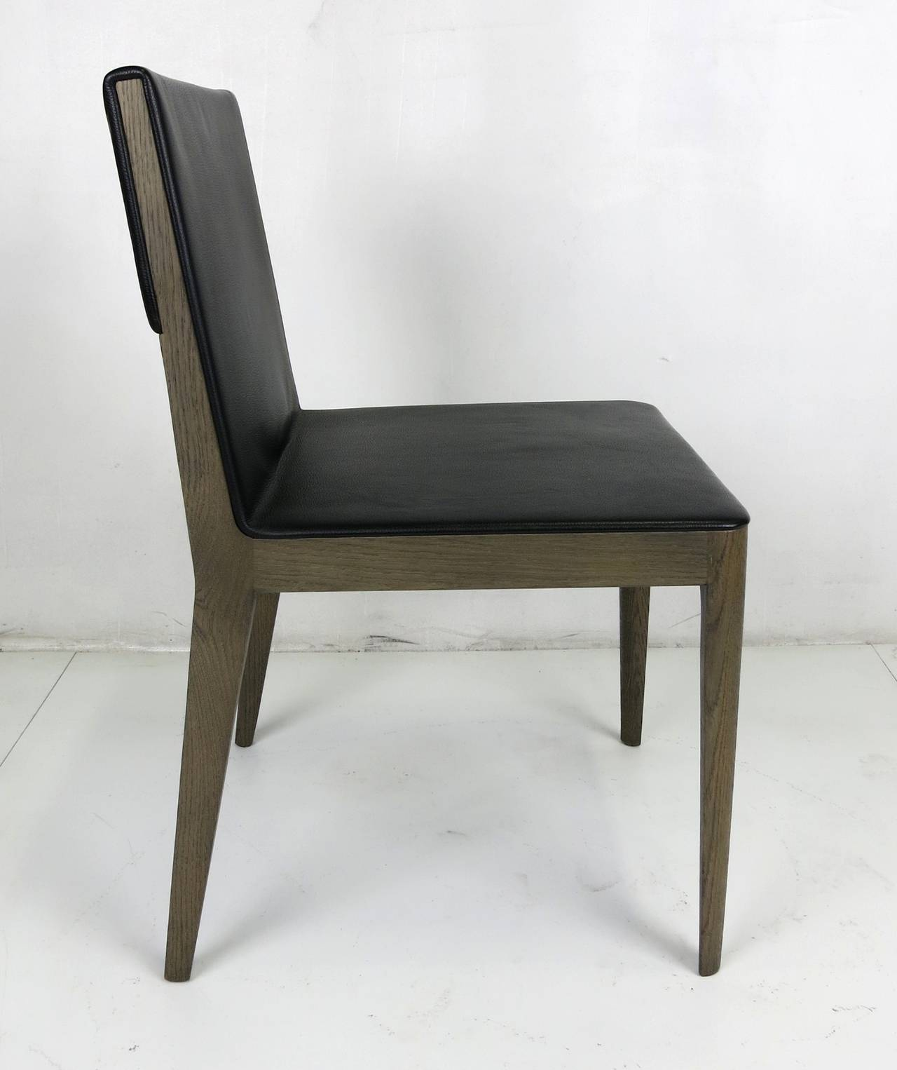 Modern Set of Six Grey Oak and Leather EL Dining Chairs by B u0026 B Italia & Set of Six Grey Oak and Leather EL Dining Chairs by B and B Italia ...