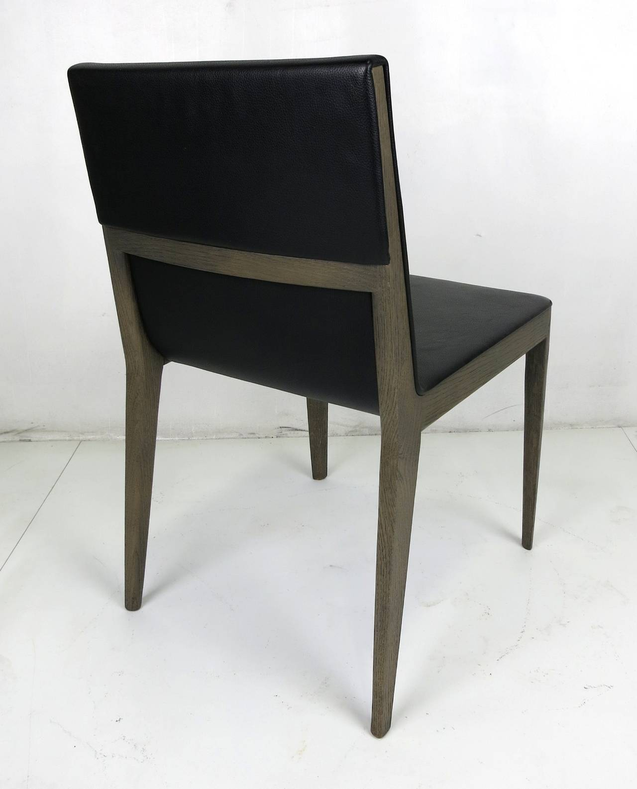 Italian Set of Six Grey Oak and Leather EL Dining Chairs by B & B Italia For Sale