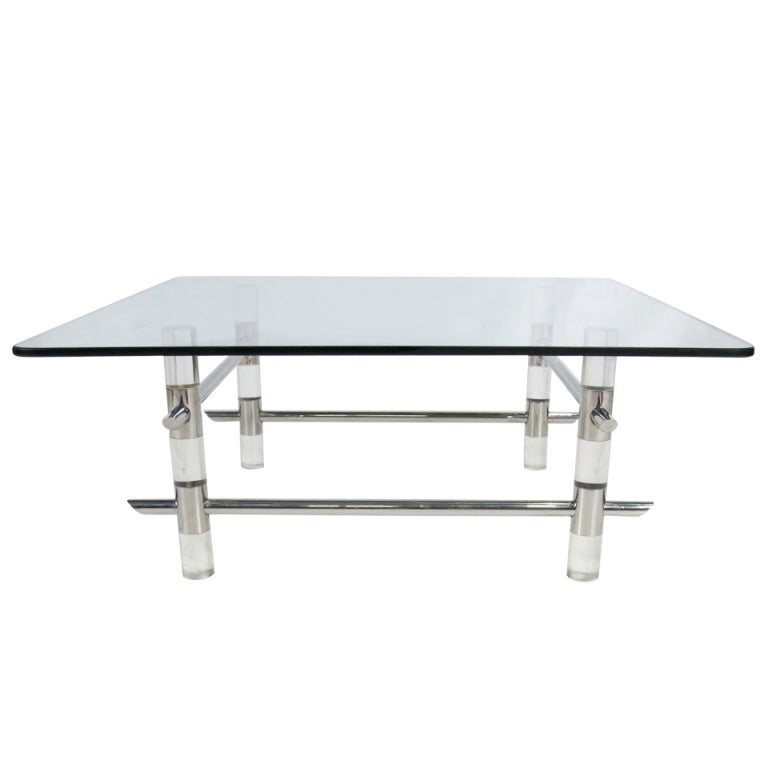 Les Prismatique Chrome and Lucite Coffee Table