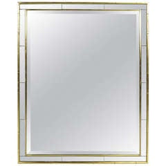 Gilt Wood and Inset Smoked Mirror Framed Wall Mirror by LaBarge