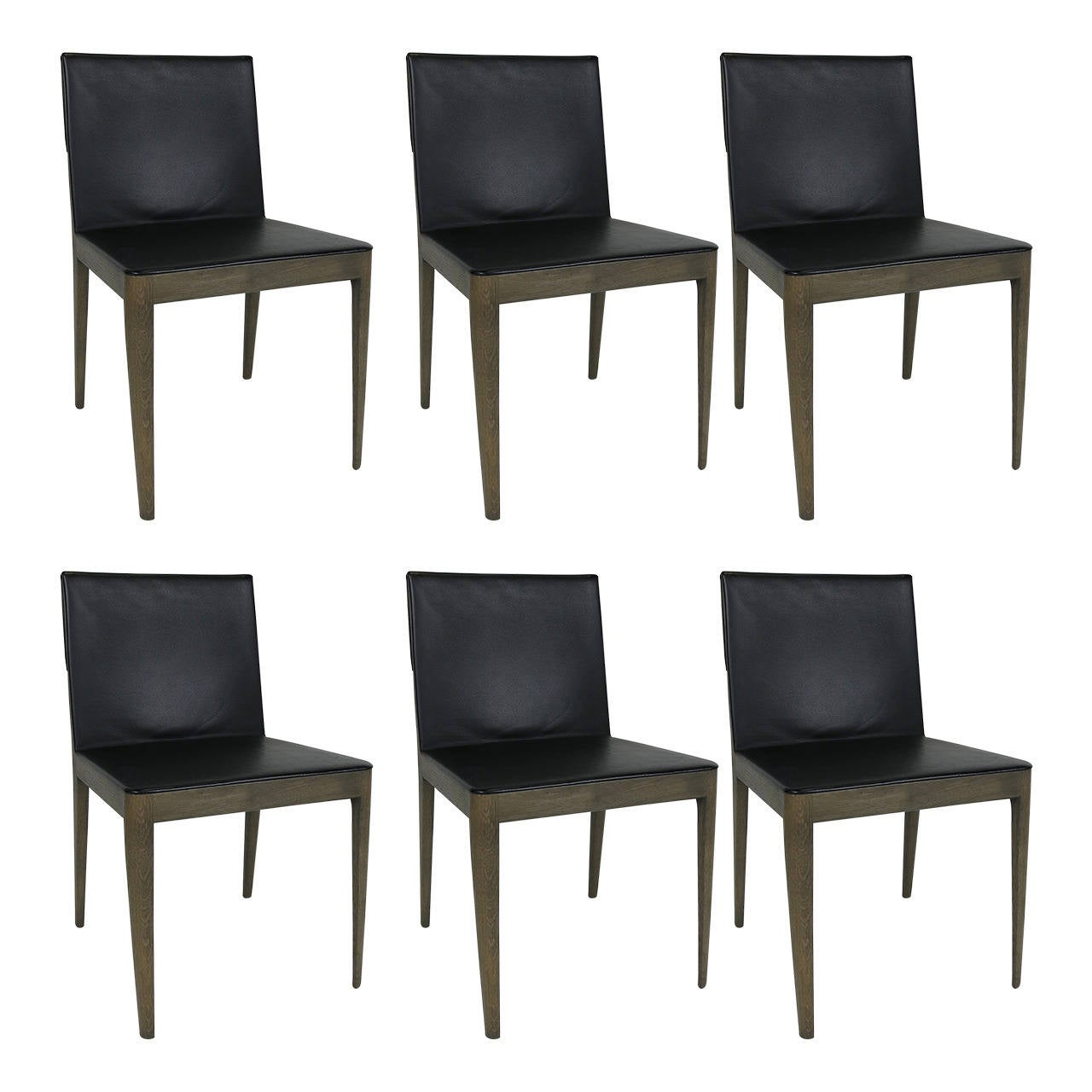 Set of Six Grey Oak and Leather EL Dining Chairs by B & B Italia