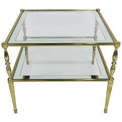 Italian Brass Chiavari Style Side Table with Mirror Bordered Top