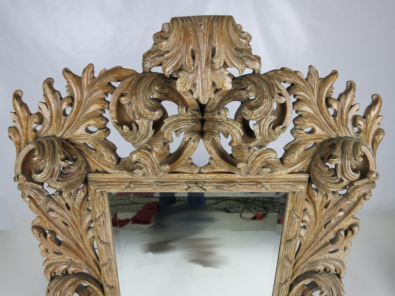 Italian Elaborately Carved Rococo Mirror For Sale