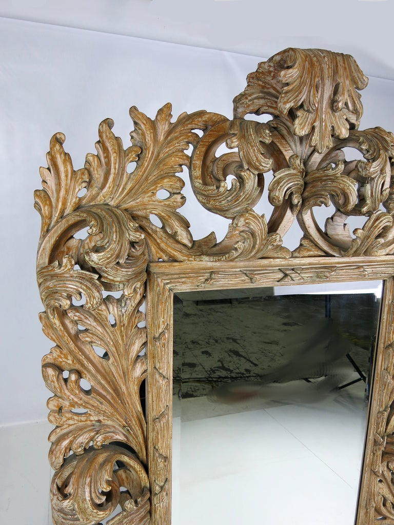 Elaborately Carved Rococo Mirror In Excellent Condition For Sale In San Leandro, CA