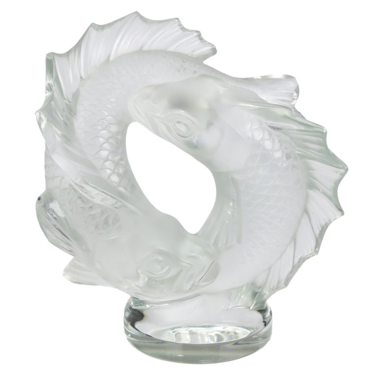 Large lalique deux poissons figural koi fish sculpture for Coy poisson