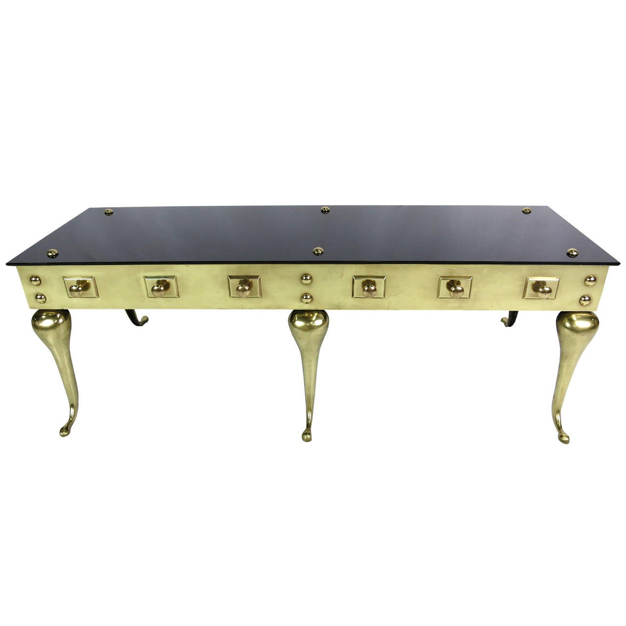 Attractive Victorian Style Brass And Glass Coffee Table 1