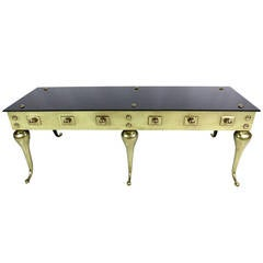 Victorian Style Brass and Glass Coffee Table