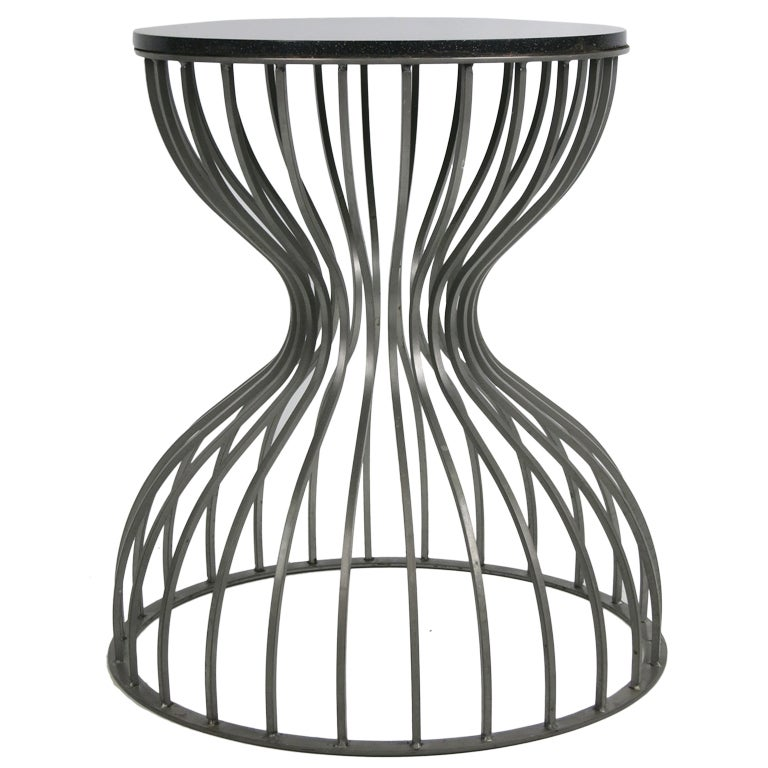 Steel Cage Hourglass Form Side Tables  4 Available 1