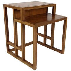 Tiered Side Table with inset Leather Top by Johan Tapp