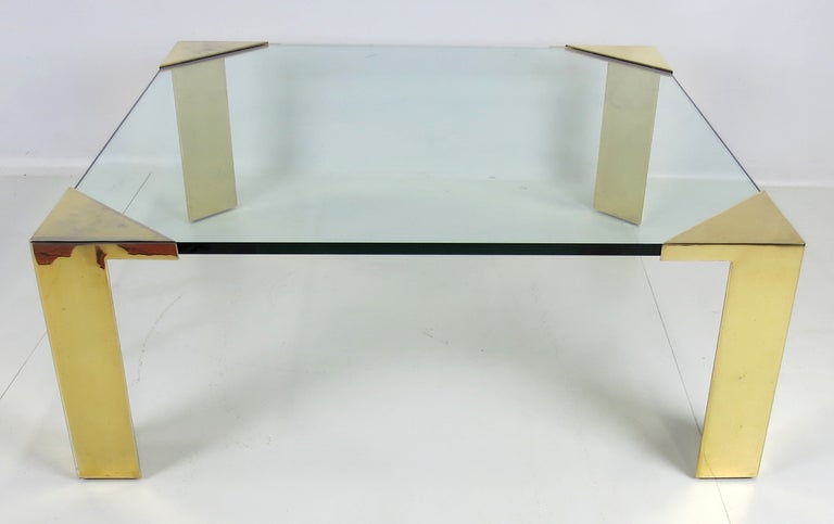 Modern Large Brass Cornered Cocktail Table For Sale