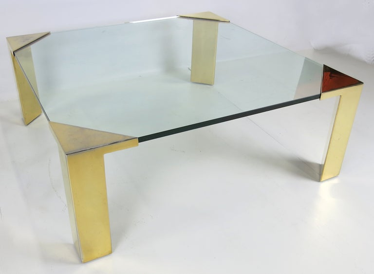 American Large Brass Cornered Cocktail Table For Sale
