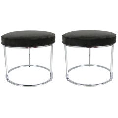 Pair of Round Chrome upholstered stools by Milo Baughman