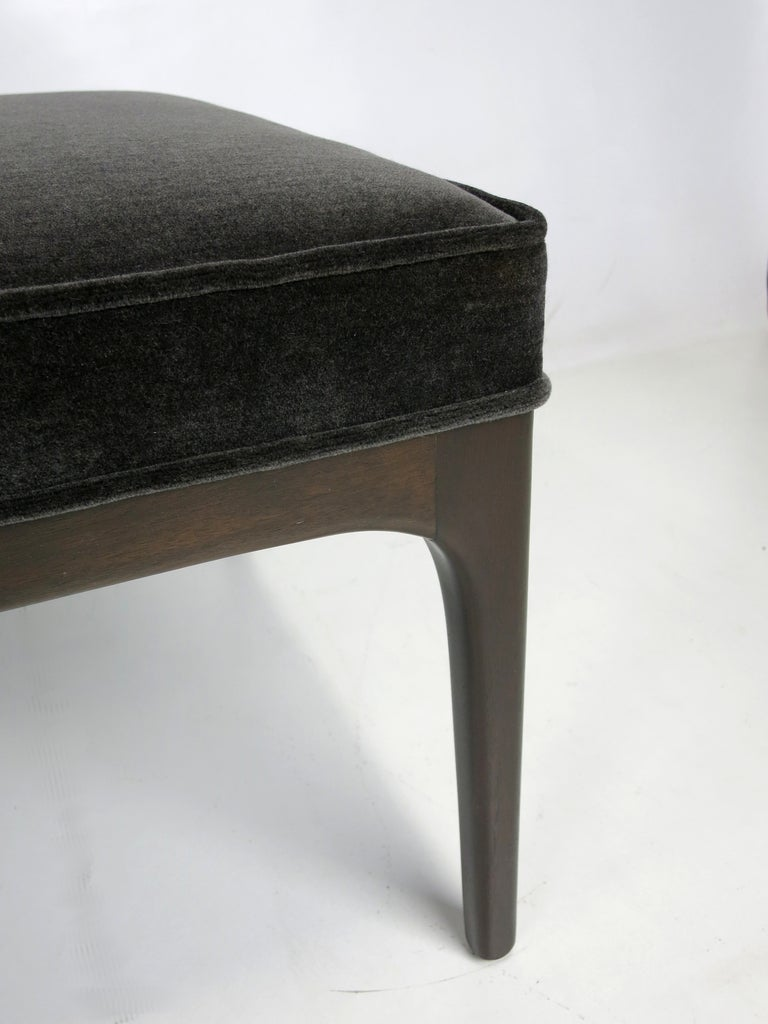 Walnut Bench With Grey Mohair Upholstery At 1stdibs