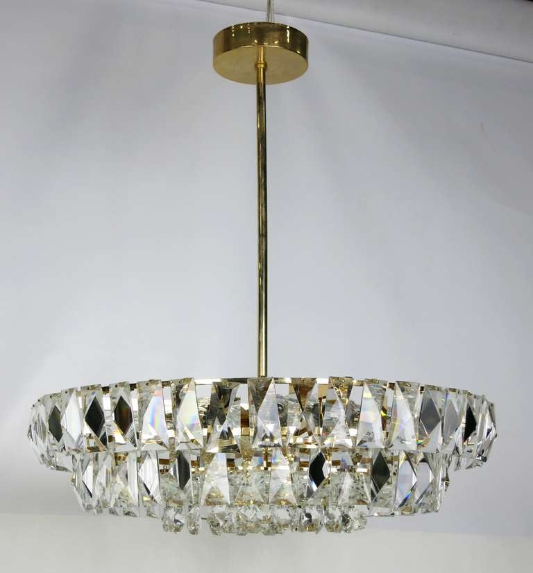 Dazzling Mid Century Austrian Gilt Brass And Crystal