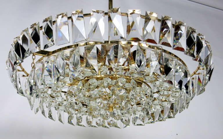 Dazzling Mid Century Austrian Gilt Brass And Crystal
