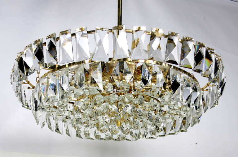 Dazzling Midcentury Austrian Gilt Brass And Crystal