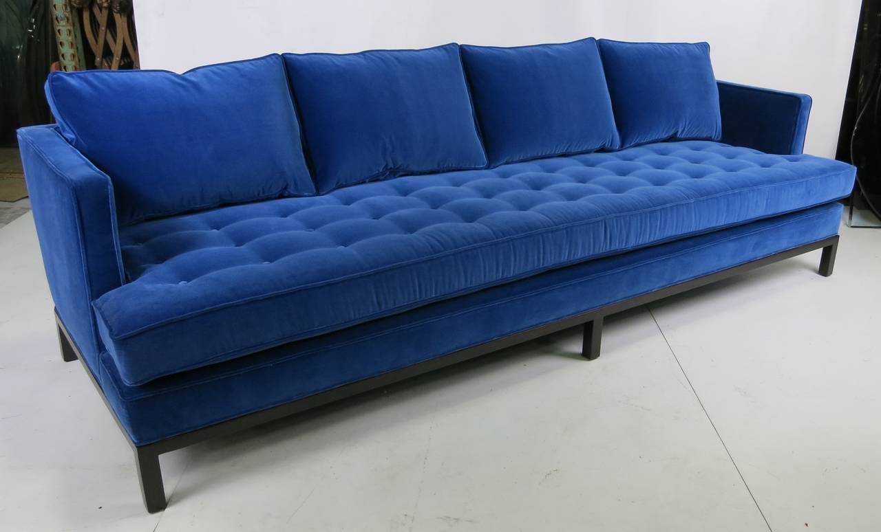 Harvey Probber Shelter Style Sofa In Cerulean Blue Velvet