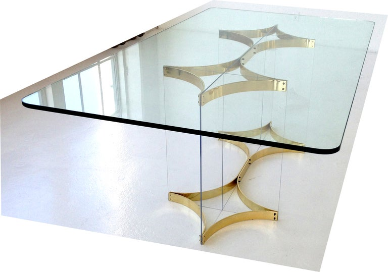 Brass and Lucite Dining Table by Alessandro Albrizzi at 1stdibs