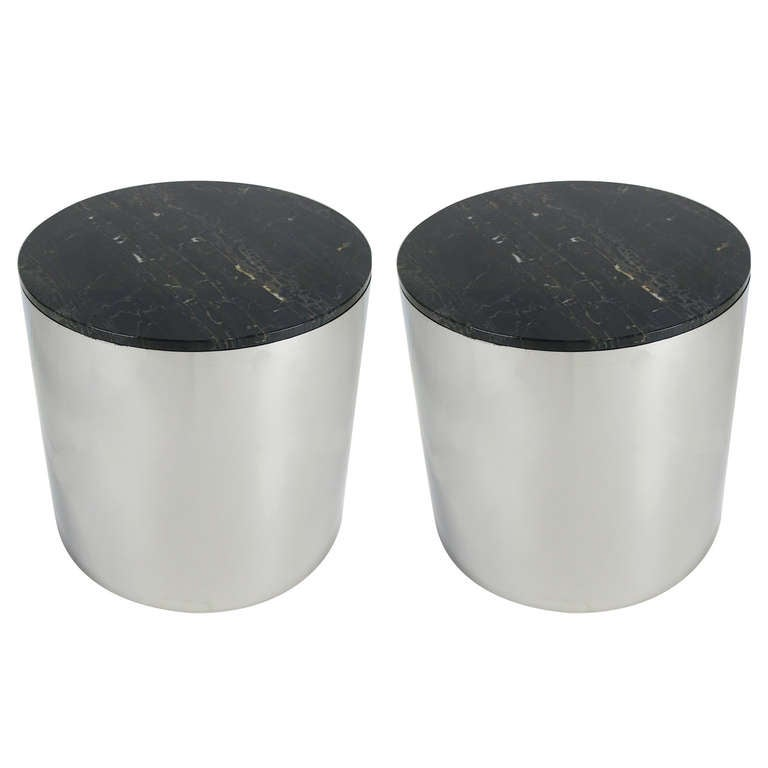 Mirror Polished Stainless Steel Drum Tables For Sale