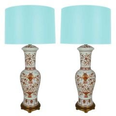 Exquisite Pair of Porcelain Urn Lamps by Marbro