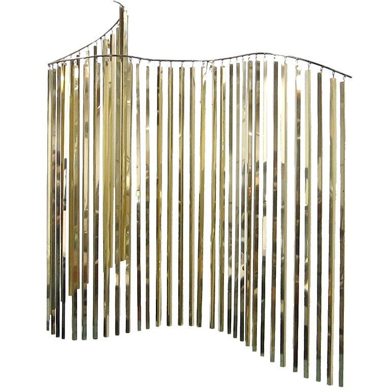 Undulating Brass Curtain Sculpture by C. Jere