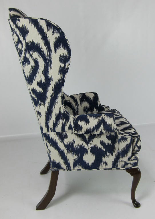 Pair Of High Back Wing Chairs Upholstered In Woven Ikat At