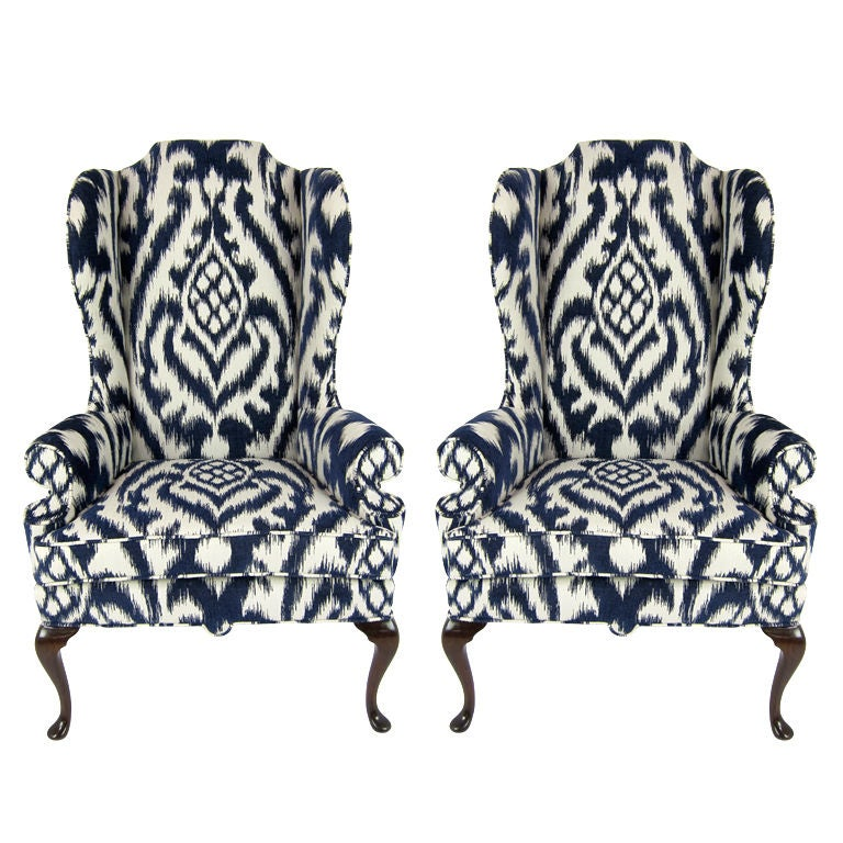 Pair of High Back Wing Chairs upholstered in Woven Ikat at  : XXX826413096291951 from 1stdibs.com size 768 x 768 jpeg 112kB