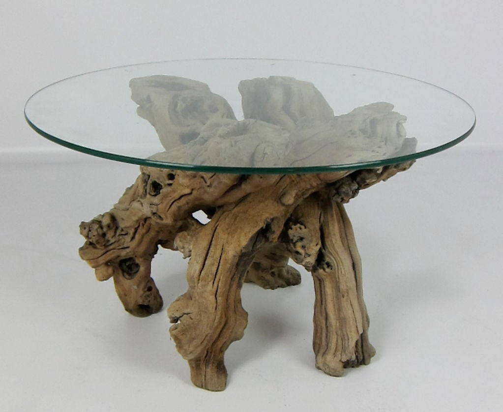 Pair of sculptural side tables of twisted Grapevine Root.
