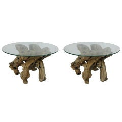 Pair of Grapevine Root Burl Side Tables