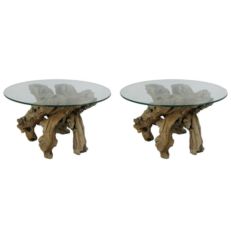 Pair of Grapevine Root Burl Side Tables For Sale