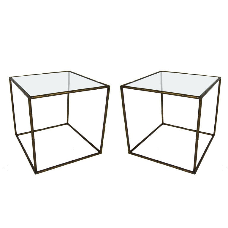 Pair Of Gilt Metal Open Cube Side Tables 1