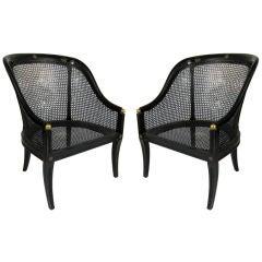 Pair of Regency Style Spoonback Armchairs