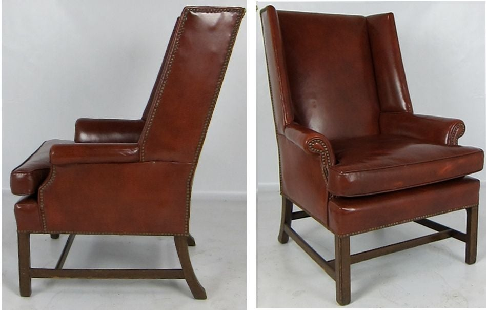 Fantastic Pair Of Leather Wing Back Club Chairs With Their Original Beautifully Worn Upholstery