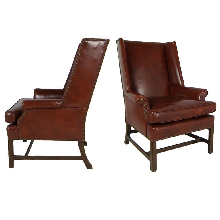 Pair Of Leather Wing Chairs With Nailhead Trim At 1stdibs