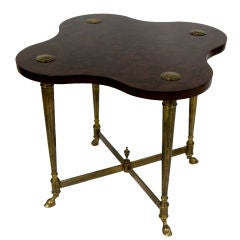 Brass & Burlwood Side Table