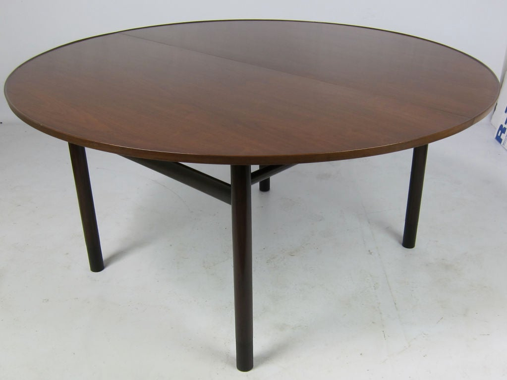 Large Walnut Extension Dining Table By Edward Wormley For
