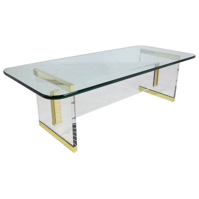 Exceptional Lucite And Brass Coffee Table At 1stdibs