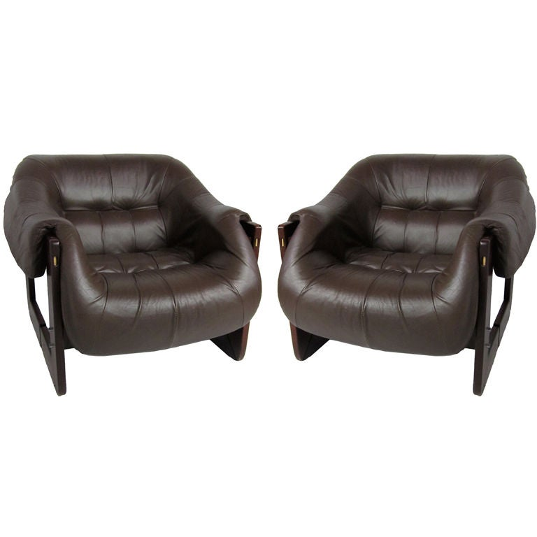 Pair of Rosewood and Leather Lounge Chairs by Percival Lafer
