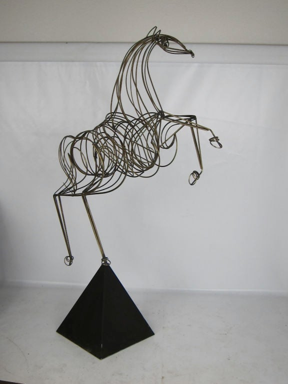 Modern Near Lifesize Brass Horse Sculpture by C. Jere For Sale