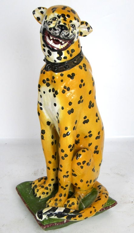 Marvelous life-sized glazed Terra Cotta figure of a cheetah sitting on a pillow with a surreal smile on her face.  Her cubs are available in a separate listing.  <br /> <br /> <br /> <br /> <br /> Keywords-Fantoni, Italian