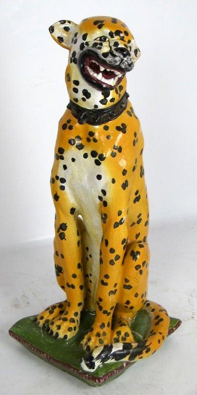 Mid-20th Century Lifesize Italian Majolica Cheetah For Sale