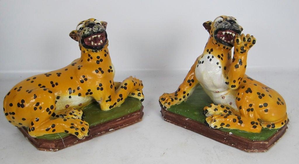 Earthenware Lifesize Italian Majolica Cheetah For Sale