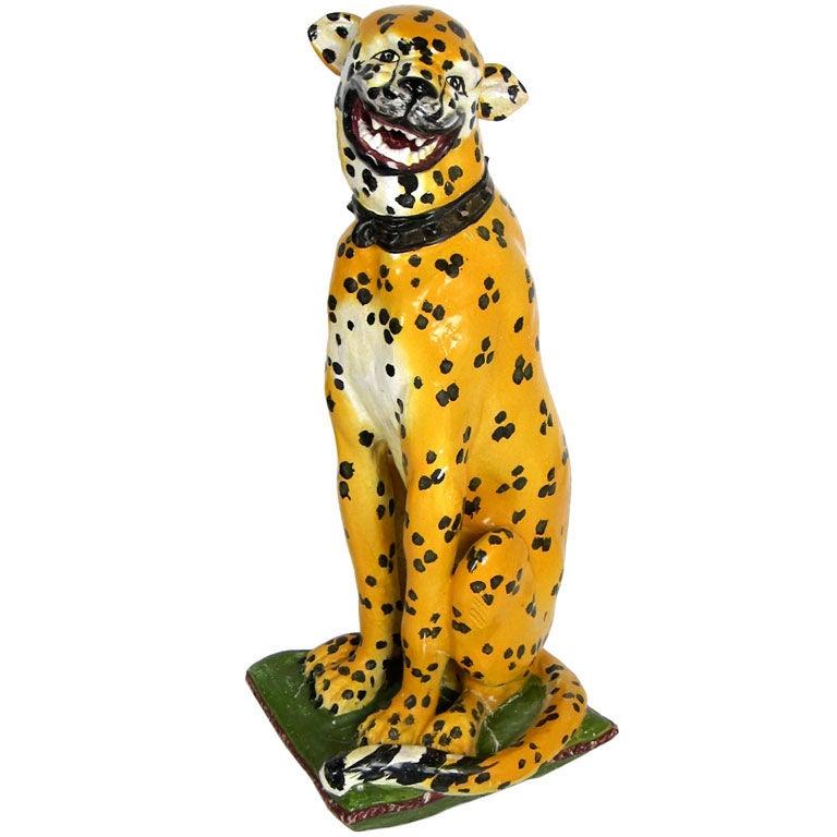 Lifesize Italian Majolica Cheetah For Sale